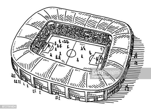 soccer stadium drawing - match sport stock illustrations, clip art, cartoons, & icons