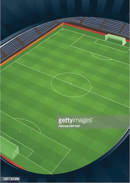 ilustraciones, imágenes clip art, dibujos animados e iconos de stock de estadio de fútbol de vista superior - gradas