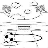 Soccer stadium. Vector black and white coloring book page