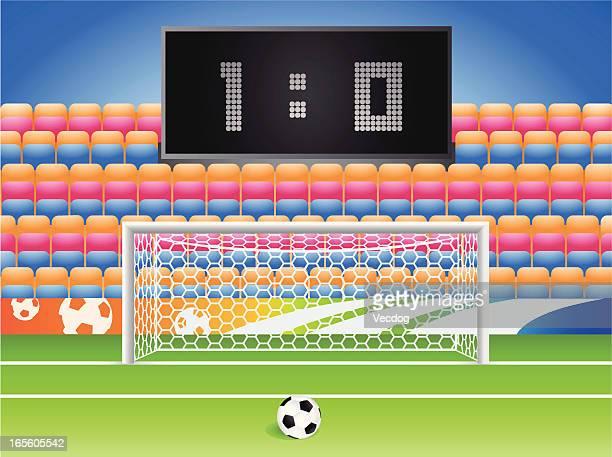 ilustraciones, imágenes clip art, dibujos animados e iconos de stock de estadio de fútbol - cancha futbol