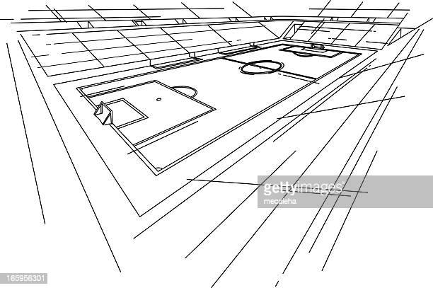 soccer stadium - football field stock illustrations, clip art, cartoons, & icons