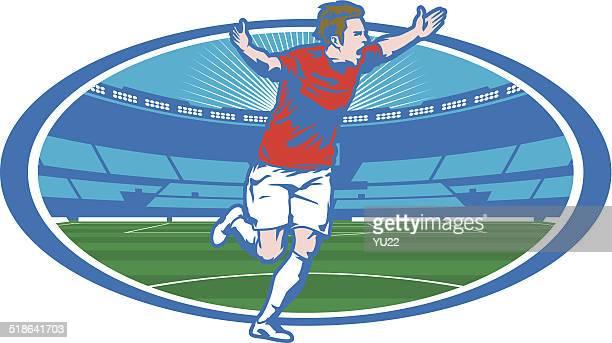 ilustraciones, imágenes clip art, dibujos animados e iconos de stock de estadio de fútbol de la victoria - gradas