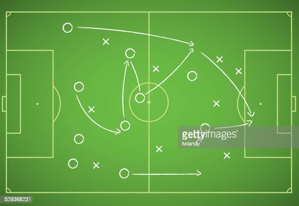 soccer strategy - football field stock illustrations, clip art, cartoons, & icons