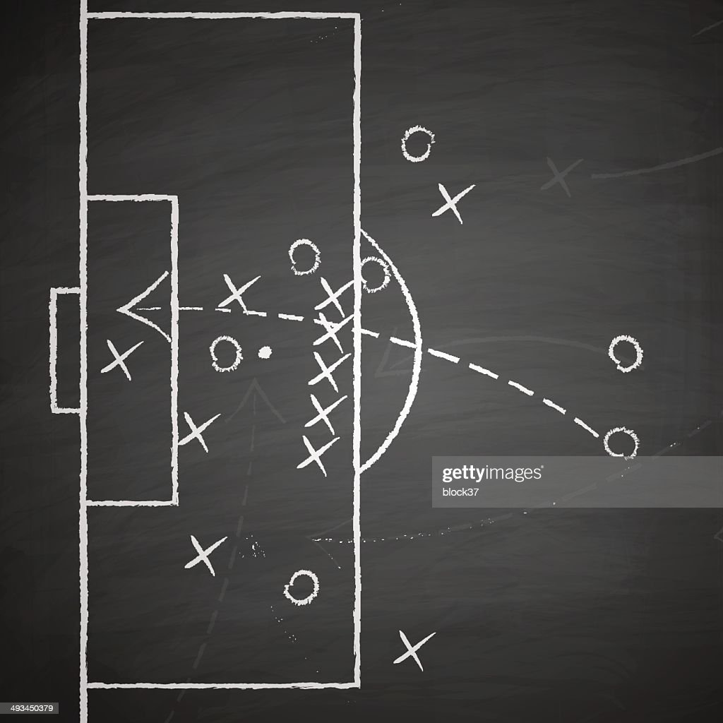 soccer tactic on blackboard