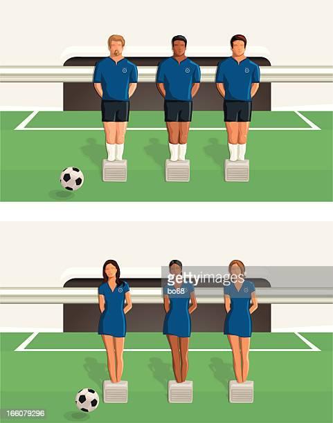 soccer team - foosball - figurine stock illustrations, clip art, cartoons, & icons