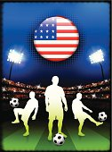 USA Soccer Team on Stadium Background