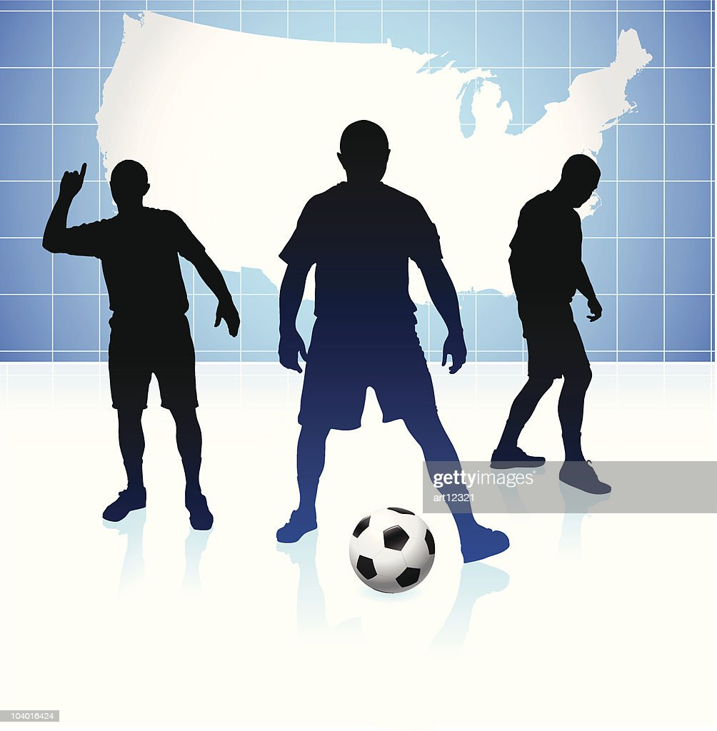 soccer team with united states map vector art