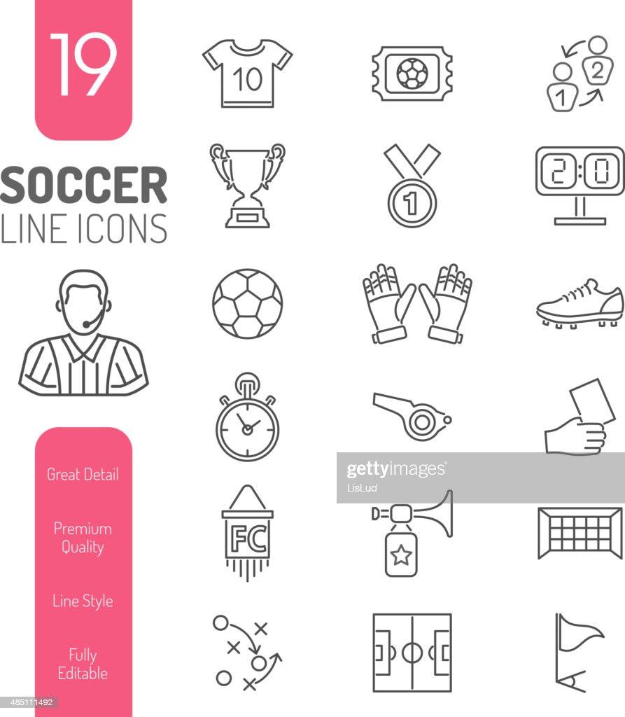 Soccer Thin Lines Web Icon Set