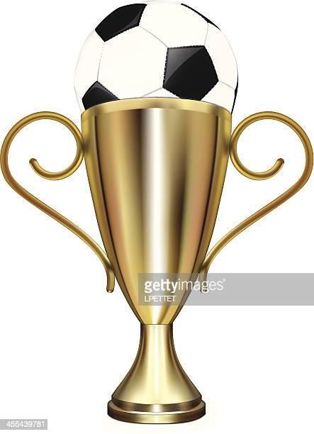 soccer trophy - vector illustration - international soccer event stock illustrations