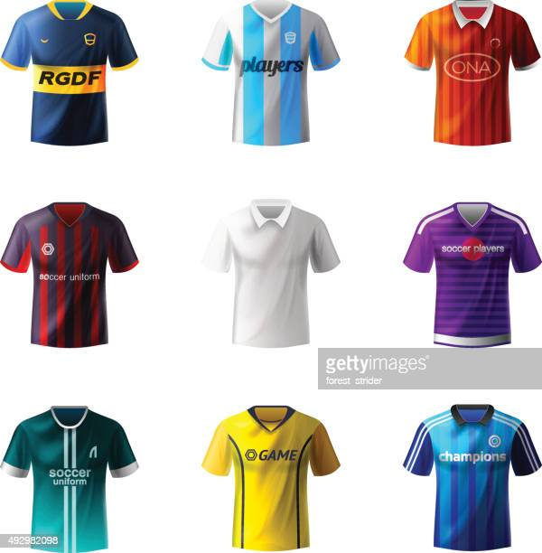 soccer uniforms - football strip stock illustrations