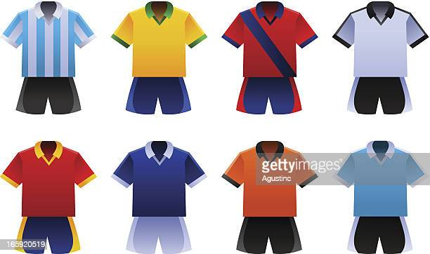soccer world cup uniforms - football strip stock illustrations