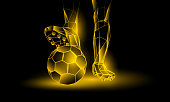 Soccer yellow neon background. Polygonal Foot of a football player on the ball.