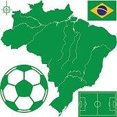 Soccerball on map of Brazil