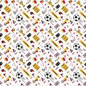 Soccer/football seamless pattern in 80s style.