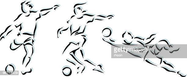 illustrations, cliparts, dessins animés et icônes de soccerplayer dans trois situations - shooting at goal