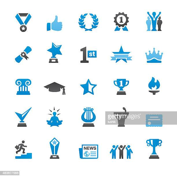 social achievement related vector icons - sport torch stock illustrations, clip art, cartoons, & icons