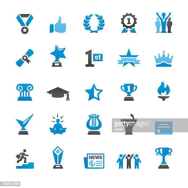 ilustrações, clipart, desenhos animados e ícones de conquistas sociais relacionadas com ícones vetorizados - bônus