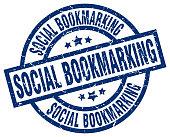 social bookmarking blue round grunge stamp