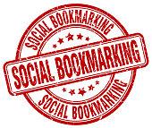 social bookmarking red grunge stamp