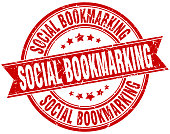 social bookmarking round grunge ribbon stamp