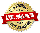 social bookmarking round isolated gold badge