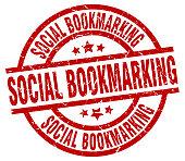 social bookmarking round red grunge stamp