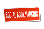 social bookmarking square sticker on white