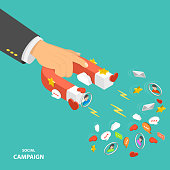Social campaign flat isometric low poly vector concept