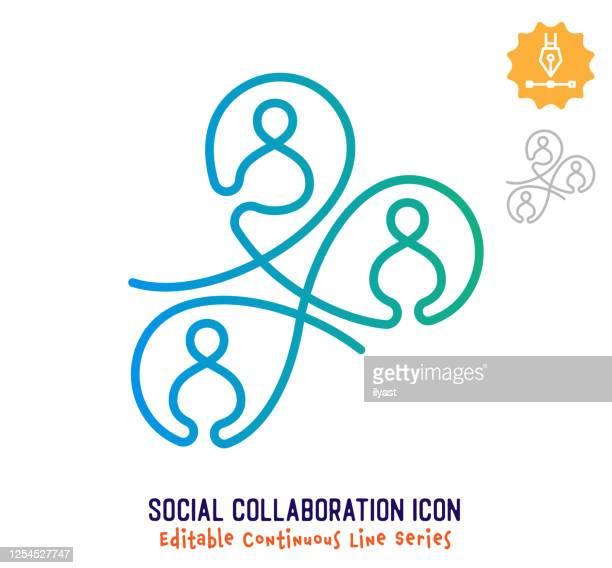 ilustrações, clipart, desenhos animados e ícones de linha de traçado editável de linha contínua de colaboração social - união