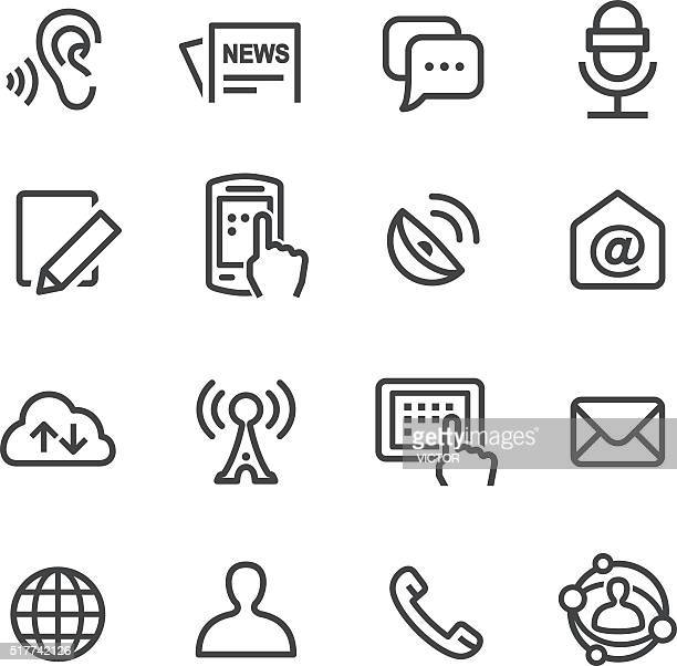 social communication icons set - line series - microphone transmission stock illustrations
