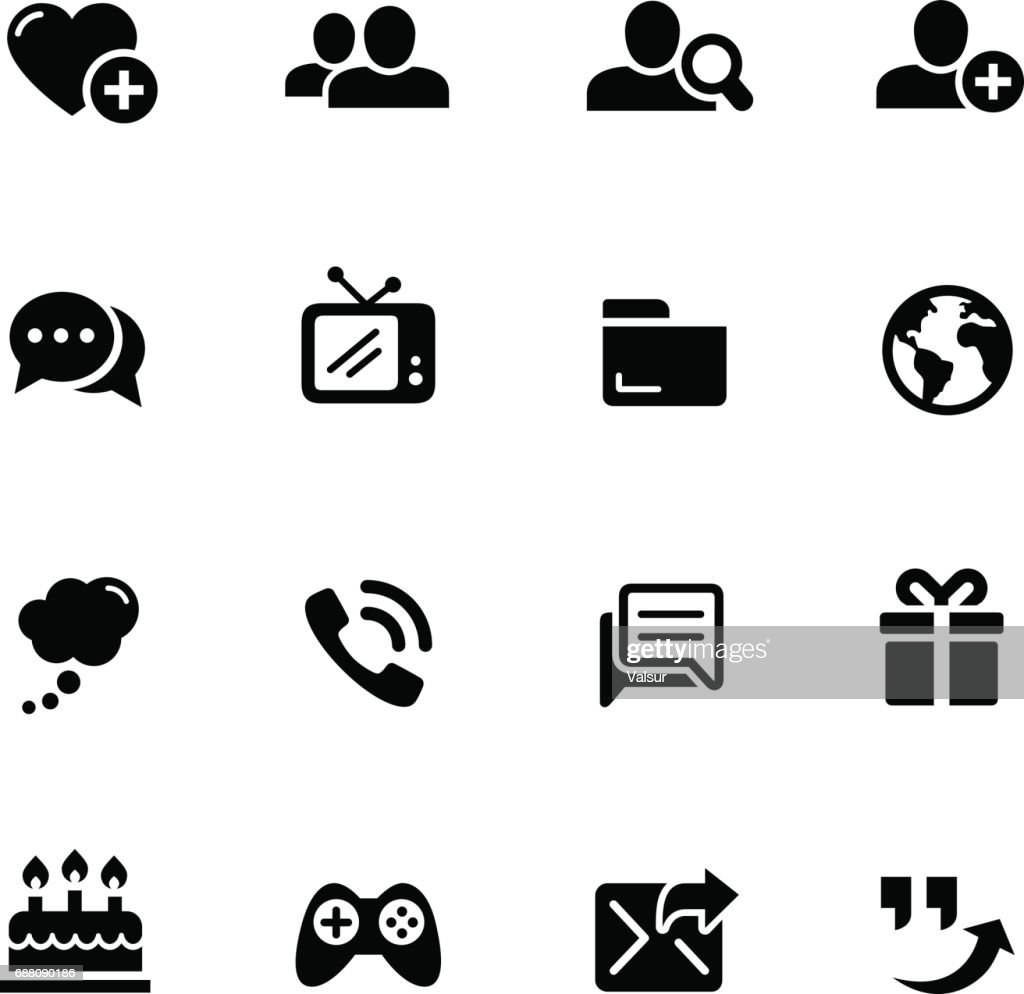 Social Communications Icons // Black Series