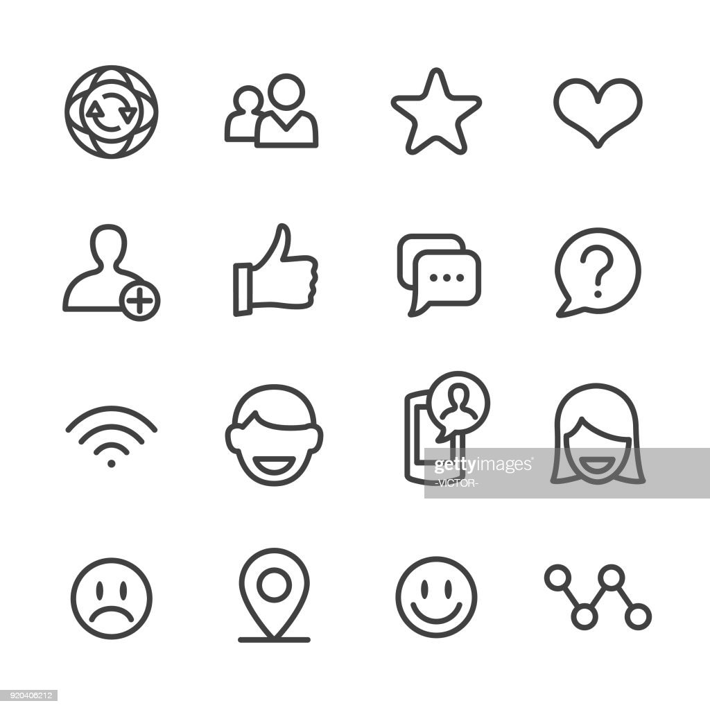 Social Communications Icons - Line Series : stock illustration