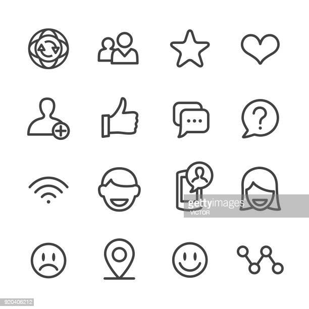 social communications icons - line series - group of objects stock illustrations