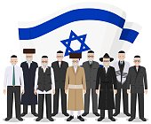Social concept. Group senior jewish people standing together in different traditional national clothes on background with Israel flag in flat style. Vector illustration.