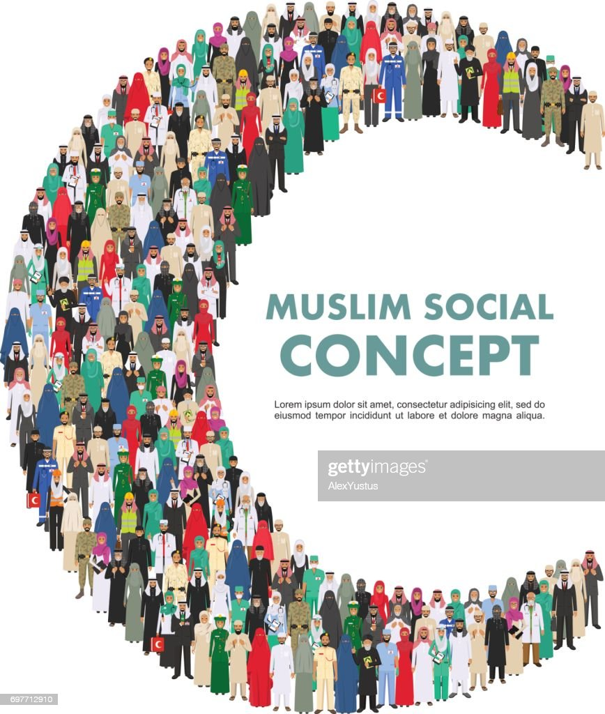 Social concept. Large group muslim arabic people professions occupation standing together in the shape of crescent in different suit and traditional clothes on white background in flat style. Vector