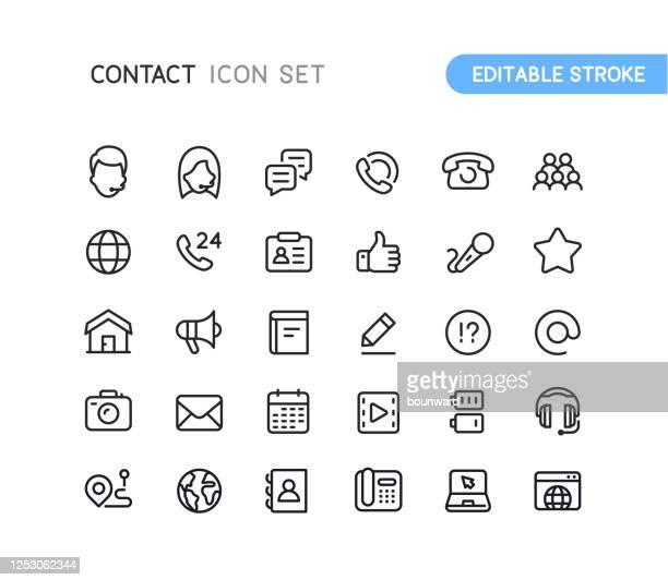 illustrazioni stock, clip art, cartoni animati e icone di tendenza di icone struttura contatto social tratto modificabile - assistenza