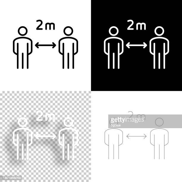 social distancing - 2 meters. icon for design. blank, white and black backgrounds - line icon - number 2 stock illustrations