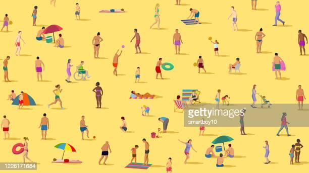 stockillustraties, clipart, cartoons en iconen met sociale distantiëring op het strand - corona zon