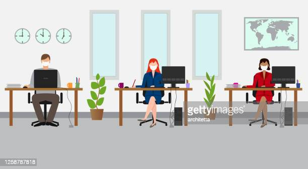 social distancing at the office. business people working with mask - office stock illustrations