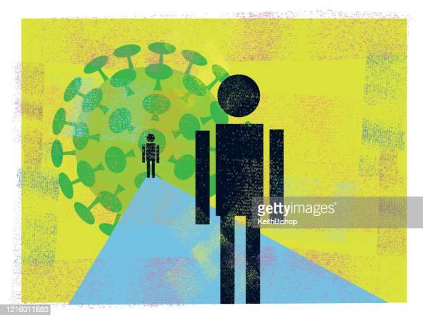 社会的な離散,covid-19,コロナウイルス,パンデミック - 病気,広がりを止める - 人里離れた点のイラスト素材/クリップアート素材/マンガ素材/アイコン素材