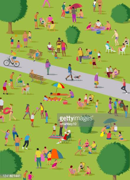 stockillustraties, clipart, cartoons en iconen met sociale distantiëring groepen in het park - corona zon