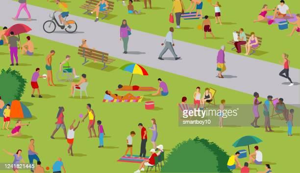 公園内の社会的な混乱グループ - 歩行器点のイラスト素材/クリップアート素材/マンガ素材/アイコン素材