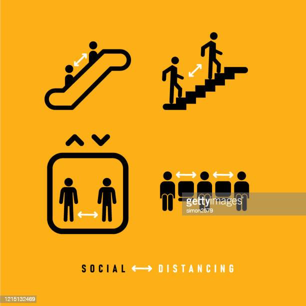 social distancing icon set - social distancing stock illustrations