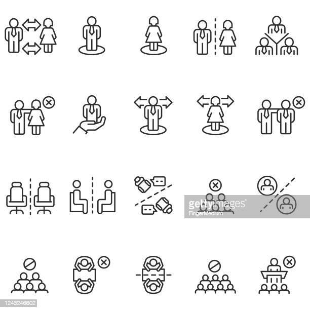 illustrations, cliparts, dessins animés et icônes de ensemble d'icône de distanciation sociale - medium group of people