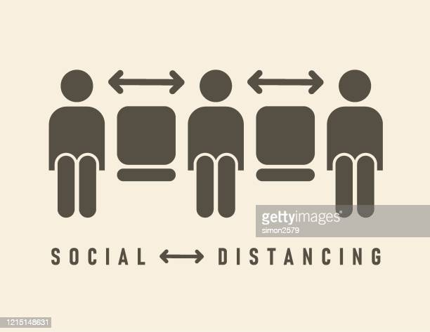 ilustrações, clipart, desenhos animados e ícones de ícone de distanciamento social - cadeira