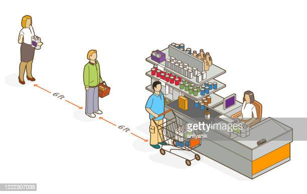 ilustraciones, imágenes clip art, dibujos animados e iconos de stock de distancia social - imperial - puesto de mercado