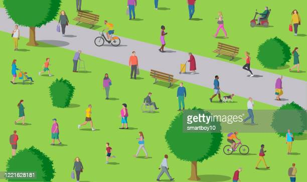 social distancing in the park - natural parkland stock illustrations