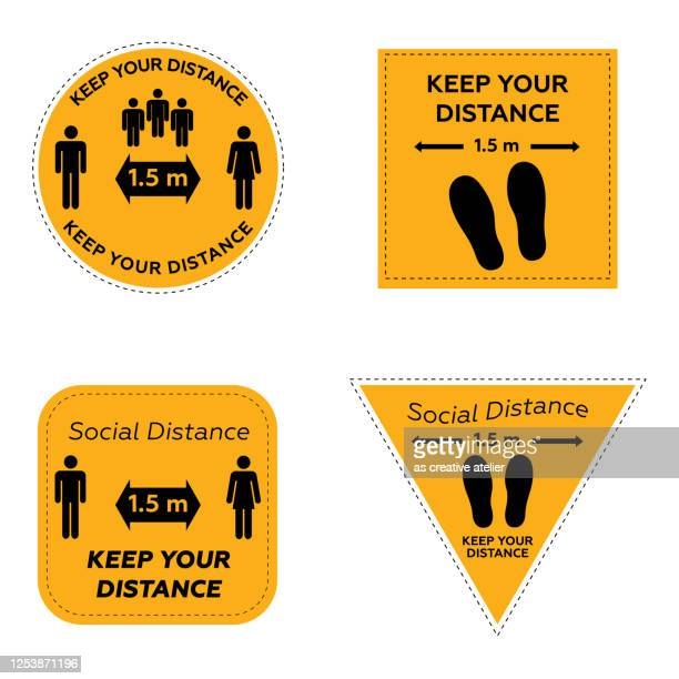 social distancing. keep safe distance 1.5 meters icons. warning signs and tags. yellow background. - mid distance stock illustrations