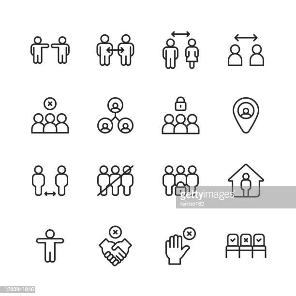 social distancing line icons. editable stroke. pixel perfect. for mobile and web. contains such icons as work from home, quarantine, coronavirus, flu and cold, audience-free event, avoiding handshakes, lockdown, stay at home, video call, virtual event. - audience free event stock illustrations