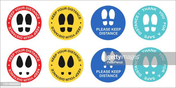 social distancing, please stand here, keep your distance floor marking stickers. text and shoeprint. lift, elevator caution. coronavirus vector illustration - distant stock illustrations